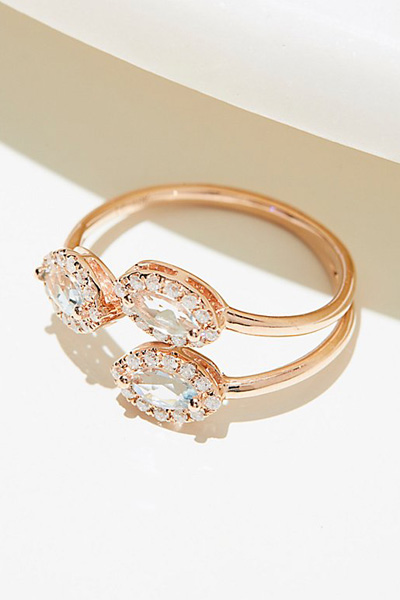 Lili Claspe 10k Marquise Aquamarine Diamond Ring