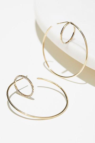 Lili Claspe x Free People 10k Gold Pave Diamond Hoop Earrings