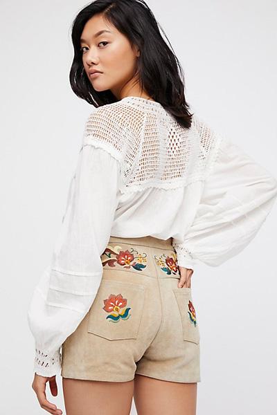Alyssa Miller X Understated Leather Boho Embroidered Suede Shorts