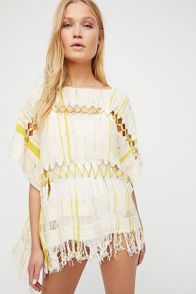 "Free People Boho Top ""Sundream Pullover Sweater Poncho"""