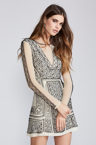 Free People Valentina Beaded Mini Dress