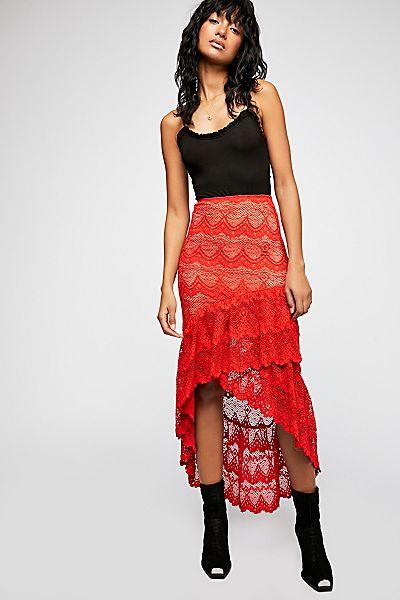 Nightcap Victorian Lace Slim Red Maxi Skirt
