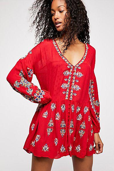 "Free People Bohemian Mini Dress ""The Arianna Embroidered Tunic"""