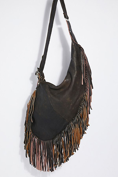 Pelechecoco Boho Fringe Leather Hobo Bag
