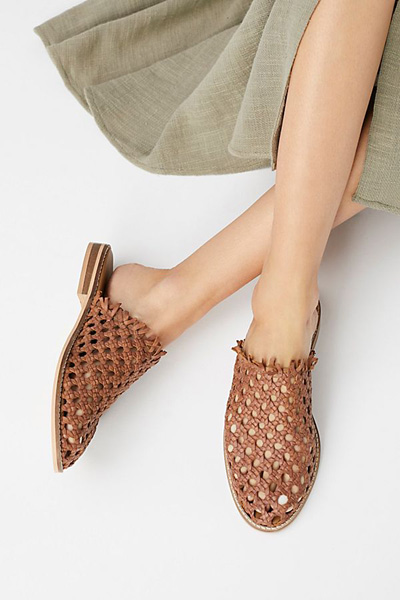 Free People Woven Slip-on Flat Sandals