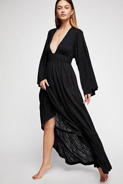 Free People FP Beach Moon Walkin' Black Maxi Dress
