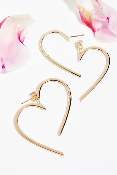 Sterling Forever Jewelry Gold Heart Hoop Earrings