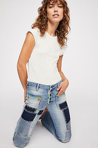 Free People Retro Patch Flare Jeans