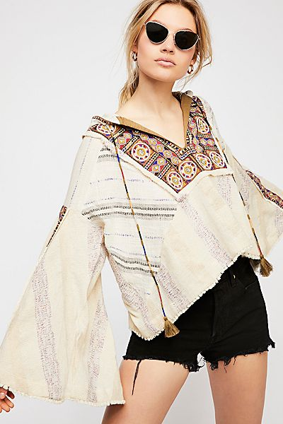 Free People Bali Crystal Beach Boho Pullover Top