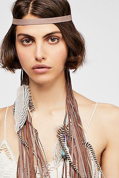 """Ruby Feathers Fringe Headband """"Tribal Boho"""""""