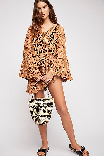 Free People Mandala Crochet Tunic Bell Sleeves Boho Top