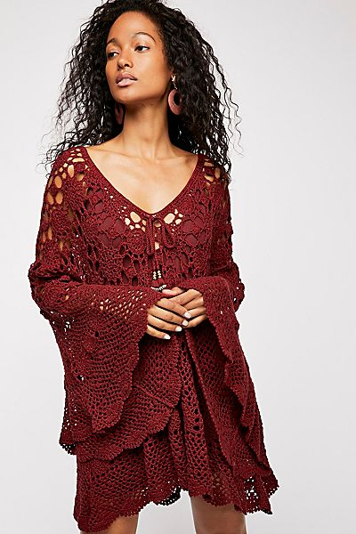 "Free People Boho Crochet Mini Dress ""Mandala Tunic"""