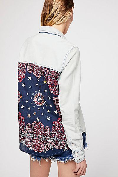 "Free People Boho Denim Shirt ""Bandana Bandit Buttondown Top"""