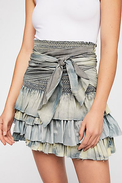 "Free People Denim Mini Skirt ""FP One"" Vintage Ruffle"