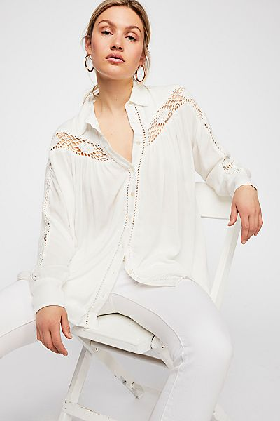 "Free People Top ""Katie Bird"" Buttondown Shirt"