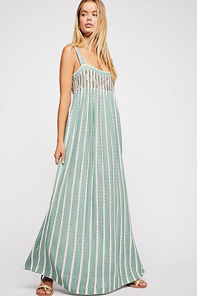"""Free People Knit Maxi Dress """"Rain Shadow"""" Stripes"""