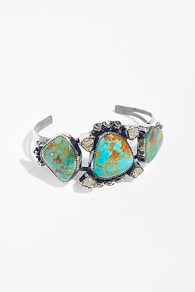 "Paloma Stipp Boho Turquoise Cuff Bracelet ""Pyrite & Stars"""