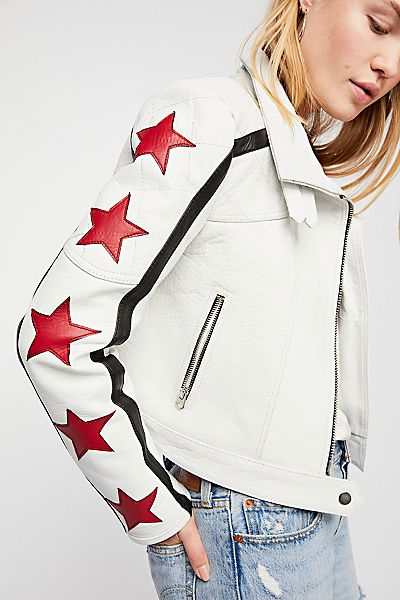 "Free People Leather Jacket ""Star Power"" We The Free"