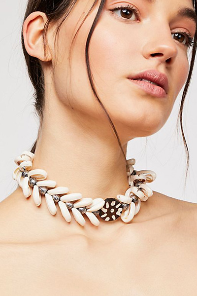 "Ouroboros Boho Choker Necklace ""Mermaid Shells"""