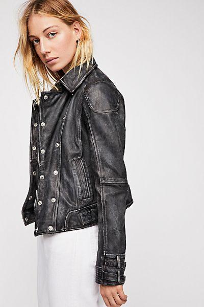 """Free People Distressed Leather Jacket """"Avis"""""""