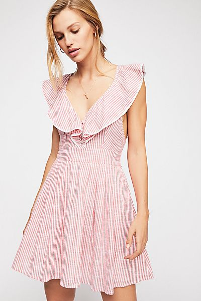 "Free People Striped Mini Dress ""Heartlines"""