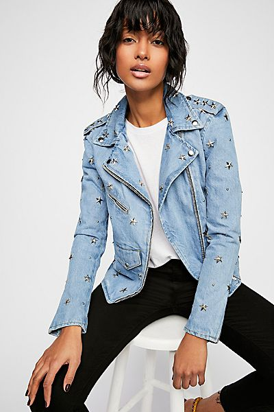 Understated Leather Star Studded Moto Denim Jacket