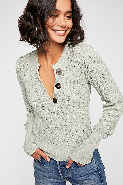 "Free People Sweater Henley Top ""All My Friends"""