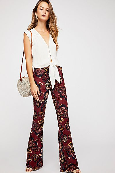 """Free People Retro Flare Jeans """"Pull On Corduroy"""" Boho-Chic"""