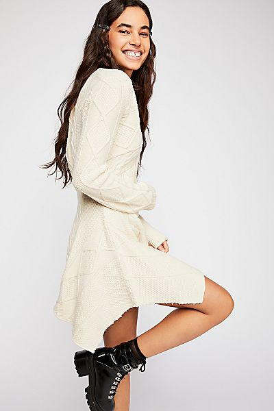 "Free People Sweater Mini Dress ""Cables & Castles"""