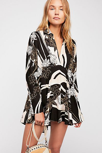 "Free People Floral Retro Mini Dress ""Field Of Flowers Tunic"""