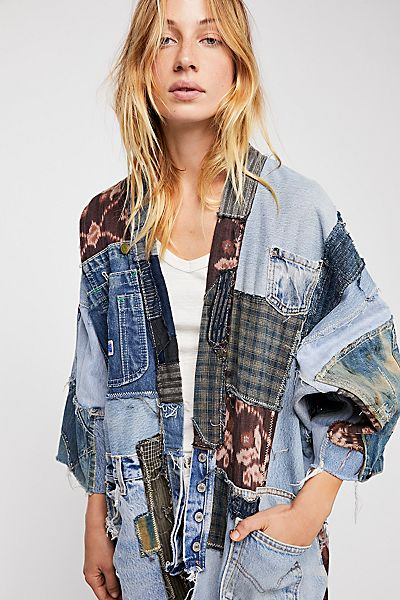 "Magnolia Pearl Denim Kimono Jacket ""One Of A Kind"" Patchwork"