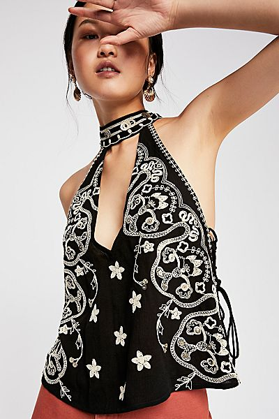 "Free People Boho Embroidered Tank Top ""Lydia"""