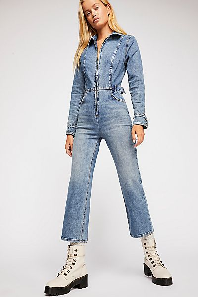 """Free People Flare Denim Jumpsuit """"Take Me Out"""""""