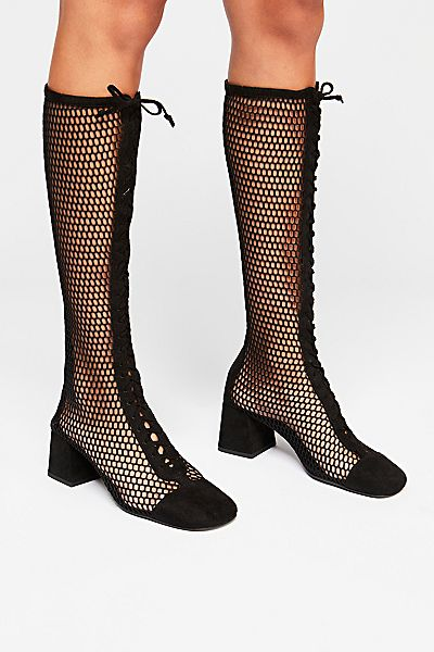 jeffrey campbell knee high lace up boots