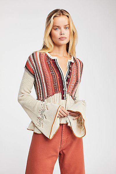 "Free People Boho Knit Sweater ""Meadow Lakes"""