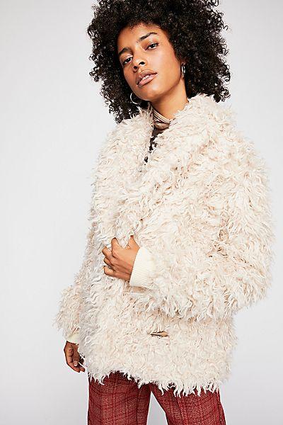 "Free People Jacket ""Nicole"" Faux Fur Boho"
