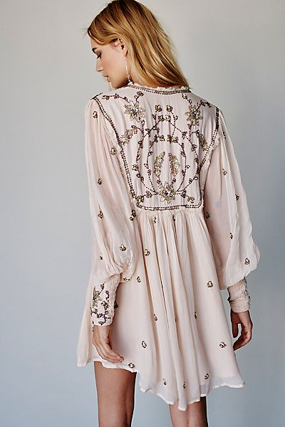 "Free People Mini Dress ""Bali Golden"" Boho Chic"