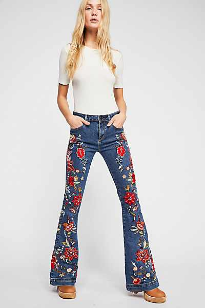 "Driftwood Jeans ""Farrah All Embroidered"" Flares"