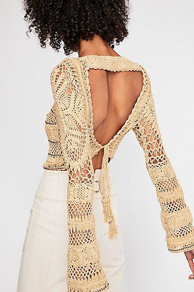 "Flook Boho Crochet Crop Sweater ""Free Love"""