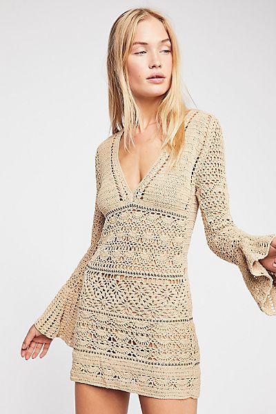 "Flook Boho Crochet Sweater Mini Dress ""Free Love"""
