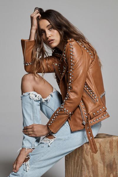 "Understated Leather Studded Biker Jacket ""Western Dome"""