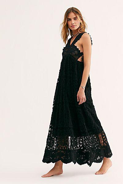 """Place Nationale Black Lace Maxi Dress """"Foix"""""""