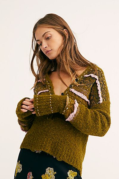 "Free People Sweater ""Color Pop"" Knit Henley"