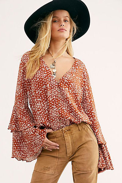 "Free People Top ""She's Ditsy Bodysuit"""