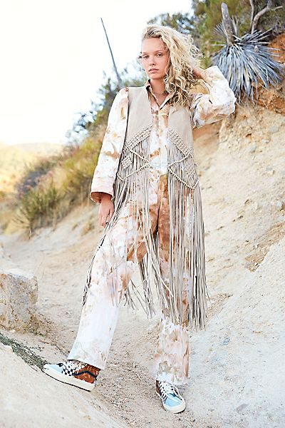 "Free People Fringe Vest ""Cream Fable"""