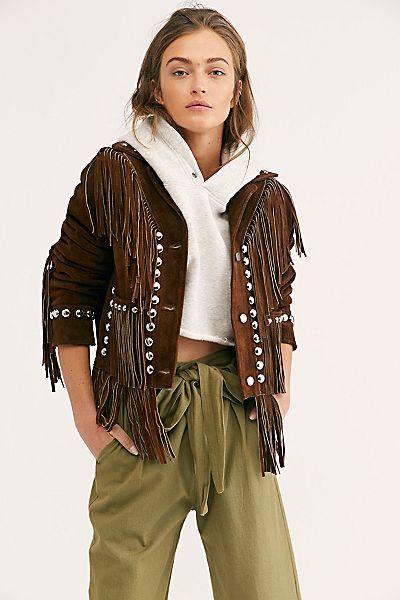 Understated Leather Fringe Studded Jacket