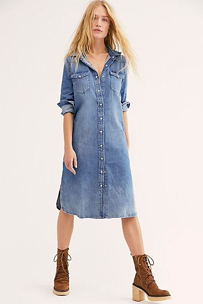 "Free People Denim Dress ""Western Midi"""