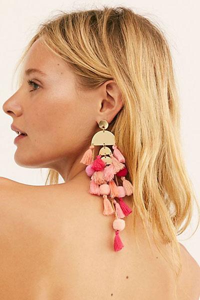 "Pompoms Dangle Earrings ""Calypso"""