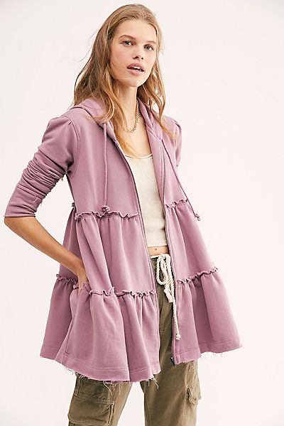 "Free People Hoodie Jacket ""Tiered Trapeze"""