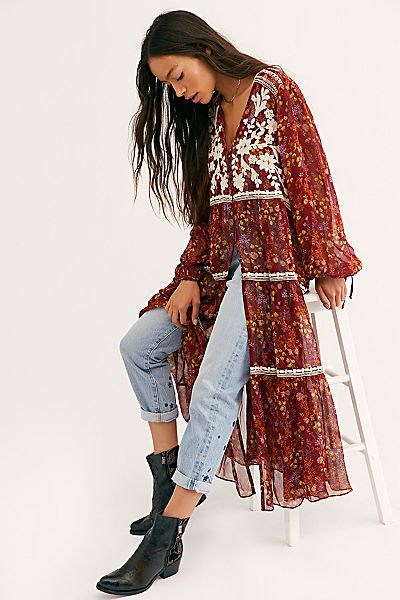 "Free People Tops ""Call On Me Embroidered Maxi Top"""